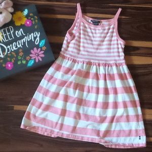 4/$12 Girls Pink/White Striped Dress Sz 6